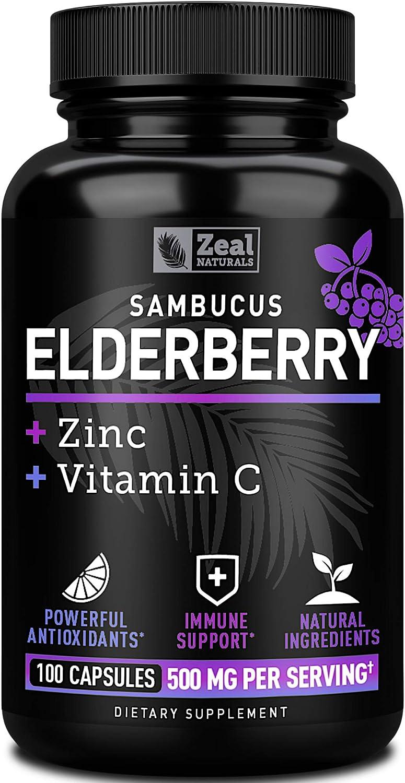 Sambucol Black Elderberry Capsules +Vitamin C with Zinc (100 Count | 500mg) Elderberry Capsule with Elderberry Zinc and Vitamin C - 3-in-1 Immune Booster for Adults Elderberry Pills