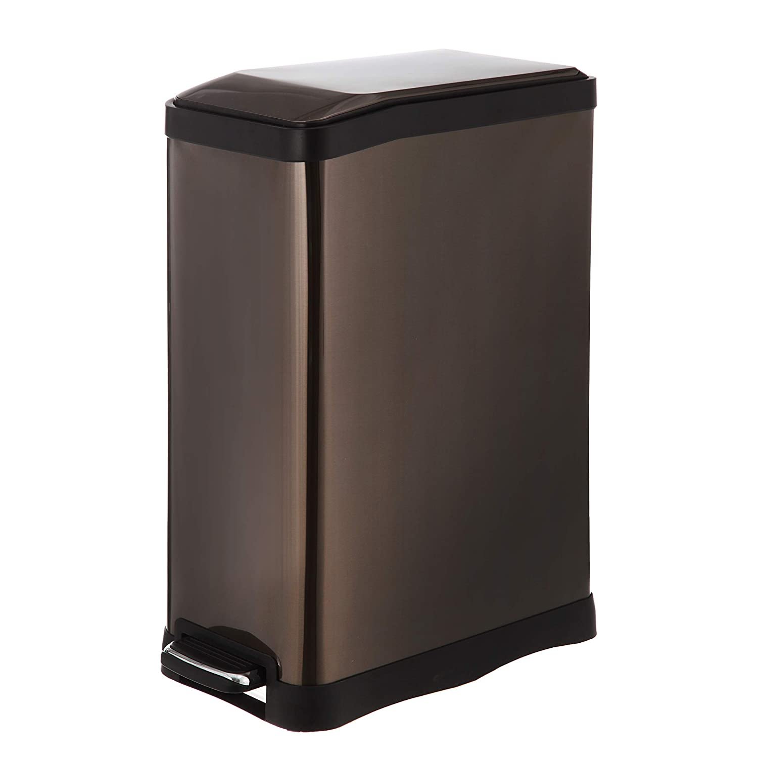 Home Zone Stainless Steel Kitchen Trash Can with Rectangular Design and Step Pedal | 45 Liter / 12 Gallon Storage with Removable Plastic Trash Bin Liner, Black