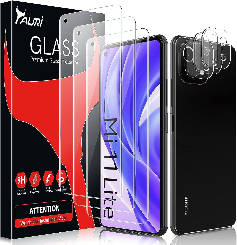 TAURI 6 Pack(3+3) Protector Pantalla Xiaomi Mi 11 Lite 4G/5G y 3 Pack Cristal Templado y 3 Pack Protector de Lente de Cámara - Sin Burbujas Dureza 9H Kit Fácil instalación