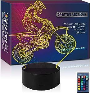 Dirt Bike LED 3D Illusion USB Motocross Night Light 16 Color Remote Control Motocycle Lamp Moto Birthday Gift for Boy Teen Men Kid Fan Sports Toys Bedroom Room Decor (Moto RC)