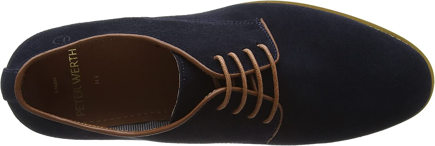 New Mens Peter Werth Blue Nesbitt Suede Shoes Lace Up
