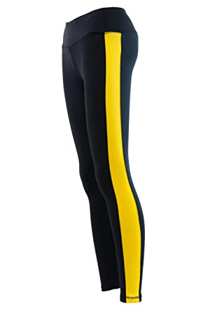5d72922ee81cd Twin Vision Activewear Black and Yellow Striped Yoga Pant Full Length  Leggings (Small)
