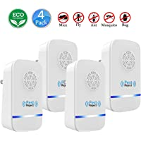 Ultrasonic Pest Repeller Upgraded (4 Pack) | Electronic Plug In Pest Control Indoor/Outdoor Use | 100% Human & Pet Safe Repellent