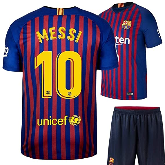 a9f12be512c GOLDEN FASHION Non Branded Barcelona Home KIT Messi Printed Jersey with  Short 2018-19 Season