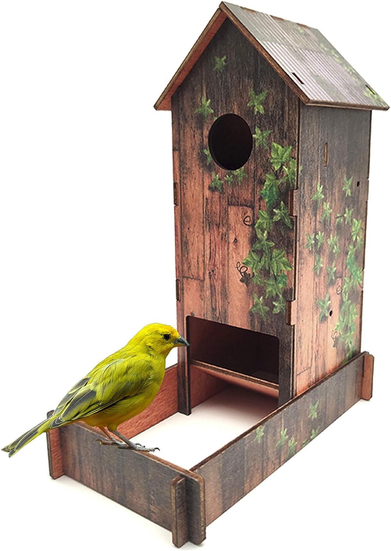 GoGoVolt Caseta de Madera para pájaros. Refugio para Hacer criar Aves, como periquitos o Canarios. El Nido Sirve para la Jaula o el jardín.