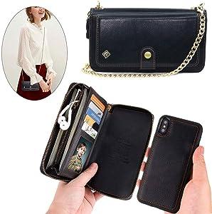 iPhone 8 Plus /7 Plus /6 Plus Wallet Case - JAZ Crossbody Chain Satchel Zipper Purse DetachableMagnetic 14 Card Slots Momey Pocket Clutch Leather Wallet Case for Apple iPhone 8/7/6/6S Plus Black