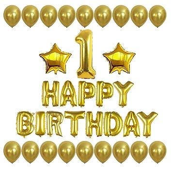 Amazon.com: Número 1 feliz cumpleaños letras globos con ...