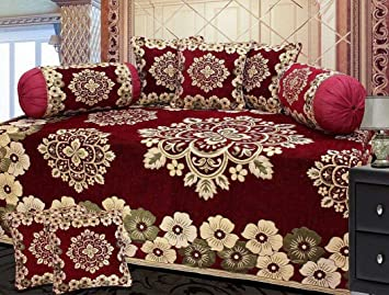 Smiling Home Premium Chenille DIWAN Set | 8 Pcs Set | Bed Cover with 5 Cushion Covers & 2 Bolster Covers