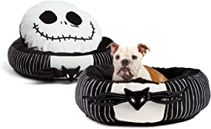 "Disney Nightmare Before Christmas Jack Skellington Bolstered Round Bumper Dog Bed/Cat Bed with Removable Toy Bat, Reversible Insert, Dirt/Water Resistant Bottom, 24""x24""x7"""