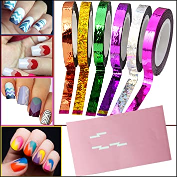 Amazon Com Nail Art Chevron Zig Zag Striping Tape In 6 Assorted