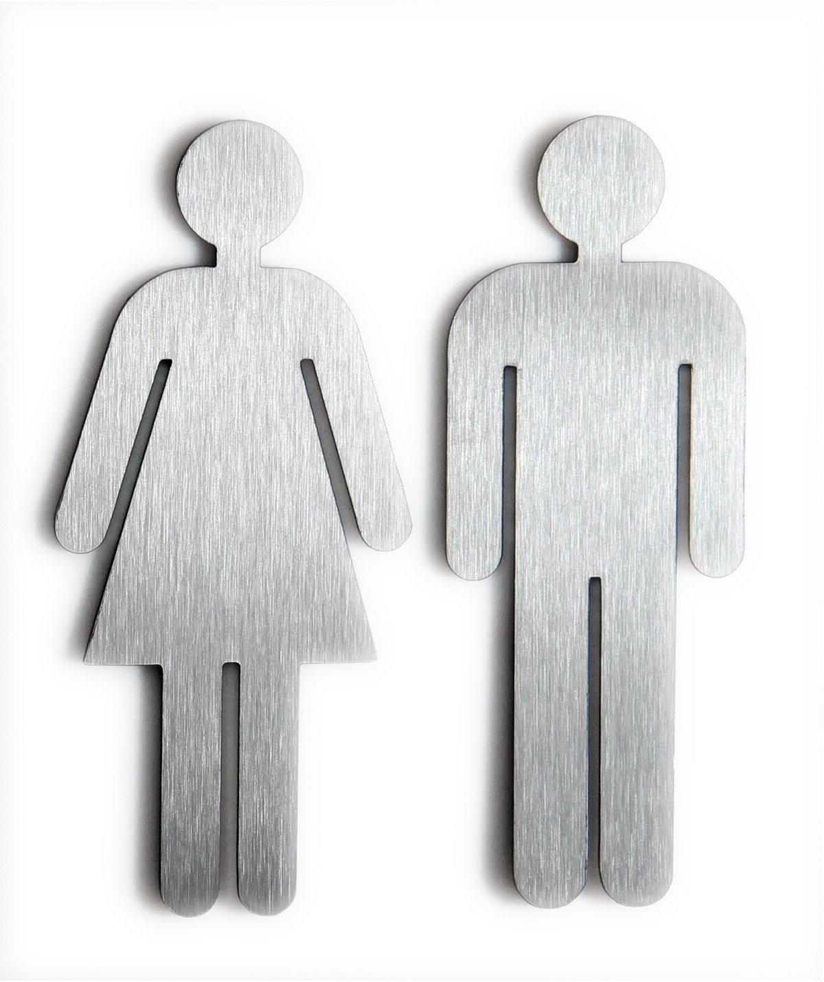 Targa per porta toilette uomo e donna, in acciaio INOX spazzolato Schoenbeck Design