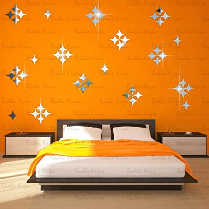 Decor wall stickers star 50 silver 3d acrylic mirror wall stickers