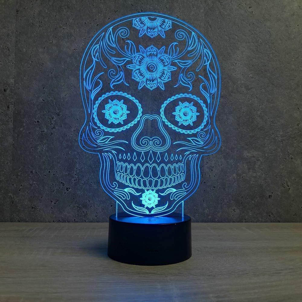 Lampe tête de mort mexicaine led - Fabriquée en France - Lampe de table - Lampe veilleuse - Lampe d'ambiance