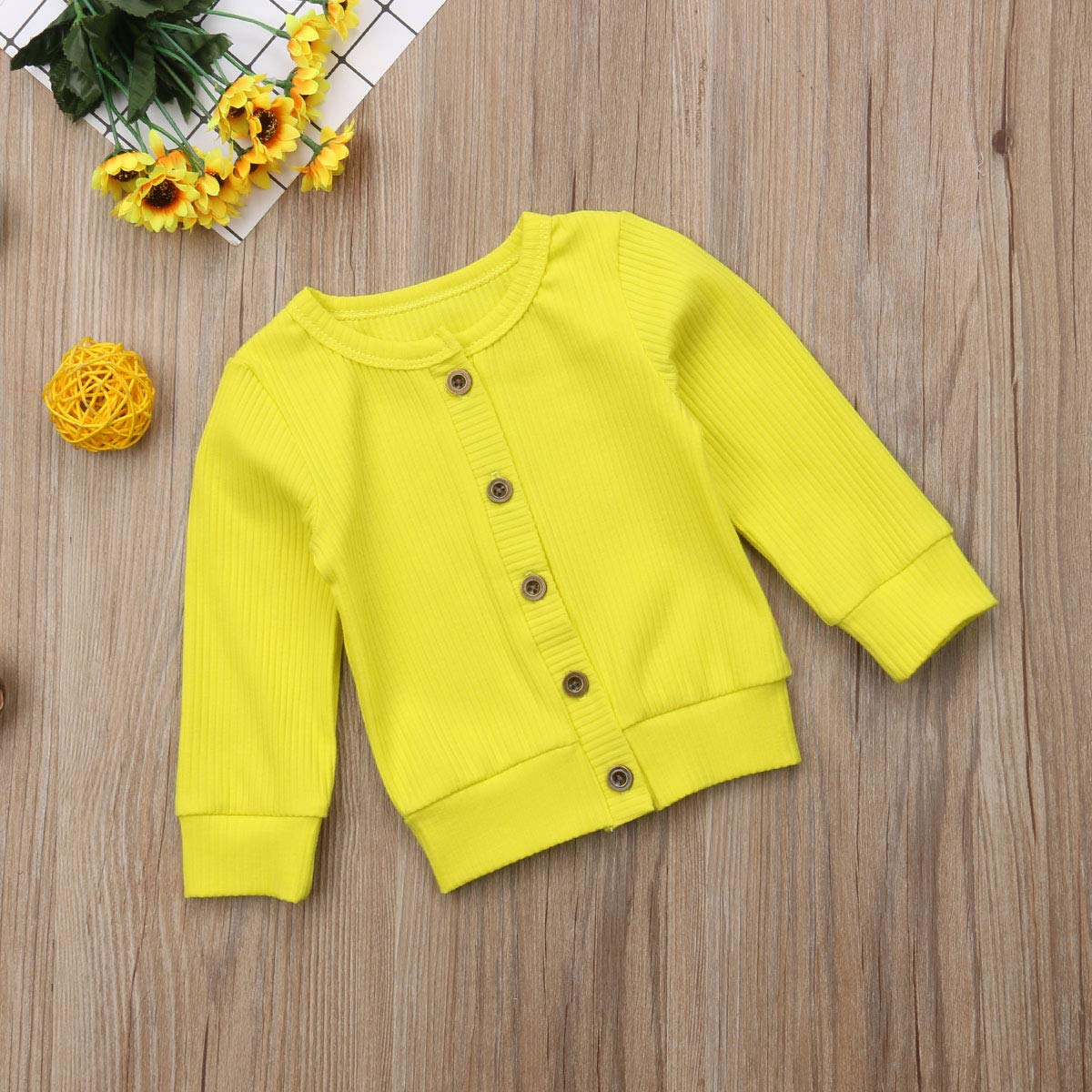 JUBILATE Infant Baby Girl Cute Crew Neck Button-Down Solid Knit Cardigan Sweater 0-24 Months