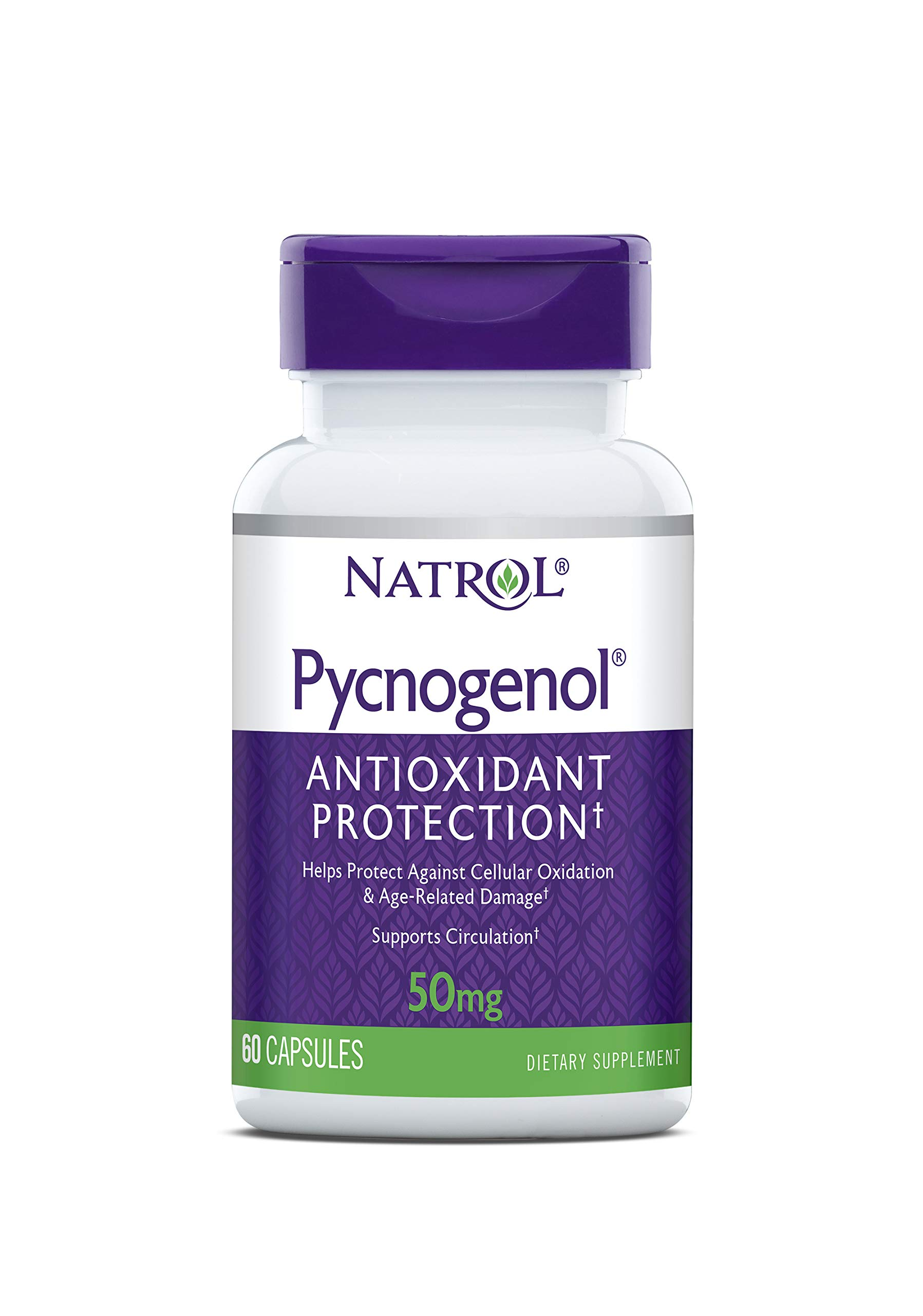 Natrol Pycnogenol Capsules, Antioxidant Protection, Protects Against Cellular Oxidation and Age-Related Damage, European Maritime Pine Bark Extract, Supports Circulation, 50mg, 60 Count by Natrol