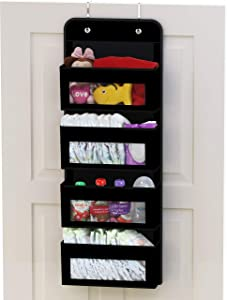 Simplehouseware Over Door/Wall Mount 4 Clear Window Pocket Organizer, Black