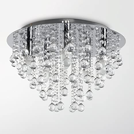 the latest 0f681 d92ad Modern Large Round Silver Chrome Plated Acrylic Jewel Chandelier Crystal  Cut Effect Droplet Flush Ceiling Light Fitting