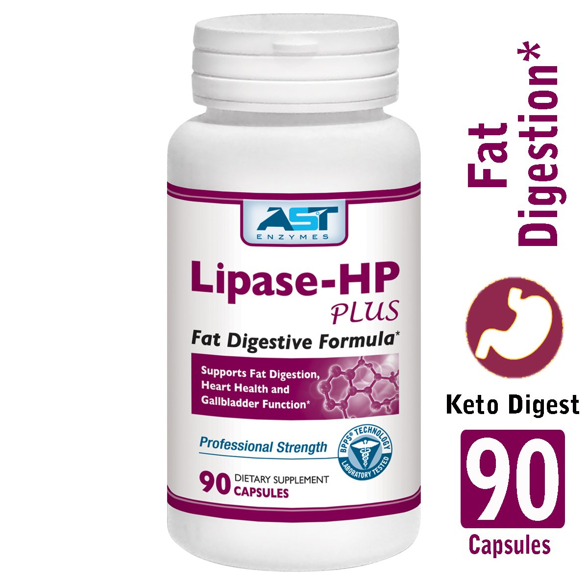 Lipase-HP Plus - 90 Vegetarian Capsules - Fat Digestion Support - Keto Diet Digestive Enzyme Formula - AST Enzymes by AST Enzymes