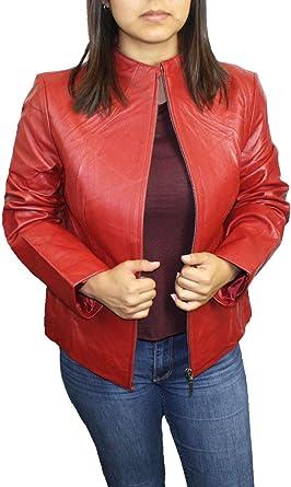 Dona Michi Womens Red Collar Less Napa Leather Jacket