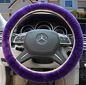 amazon com universal fluffy wheel cover winter faux wool plushokayda faux wool high elastic steering wheel cover fits tight on wheel warm hands in