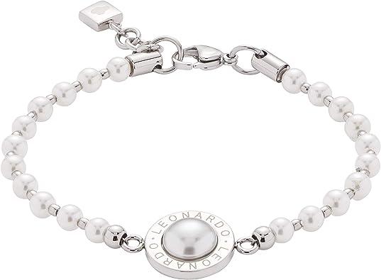 Jewels by Leonardo Damen Armband Matrix Perla, Edelstahl mit Perlmutt Cabochon, Imitations Perlen und Leonardo Gravur, Länge 180 mm, 016454