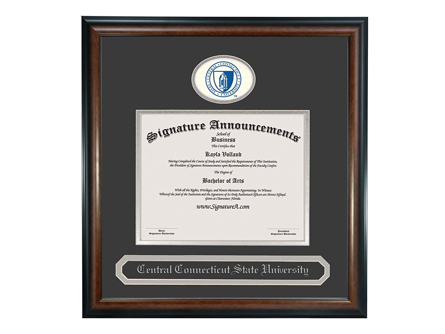 Signature Announcements Central Connecticut State University Undergraduate 16 x 16 Matte Mahogany Sculpted Foil Seal /& Name Graduation Diploma Frame