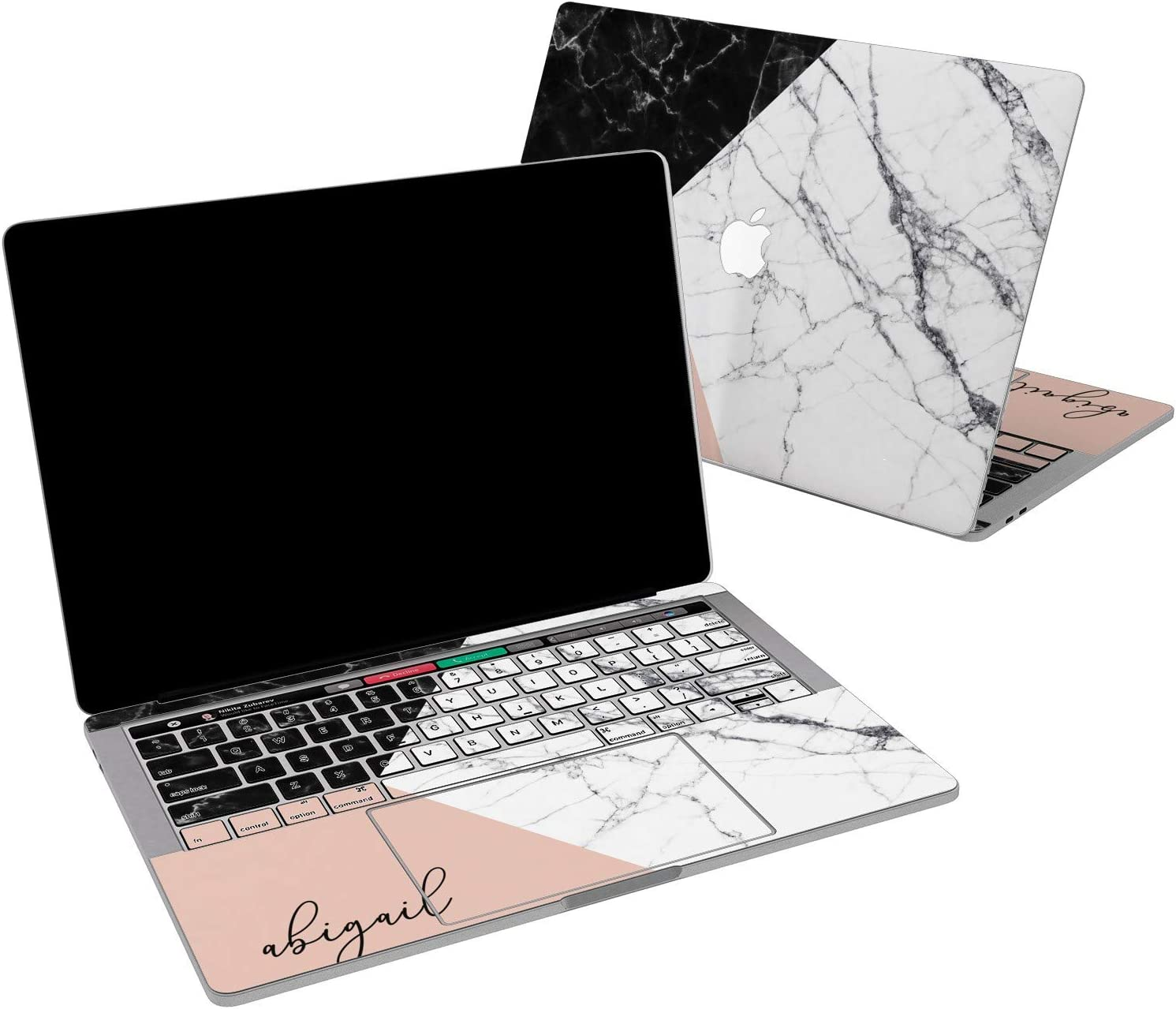 Lex Altern Vinyl Skin for MacBook Air 13 inch Mac Pro 16 15 Retina 12 11 2020 2019 2018 2017 Geometry Marble Corners Nature Pink Art Monogram Wrap Laptop Cover Protective Decal Sticker Touch Bar