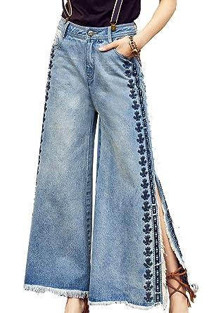 fe288acde6 Image Unavailable. Image not available for. Color: Artka Women's High Waist  Flare Capri Jeans Vintage Embroidered Blue Petite Crop Hem Denim Pants