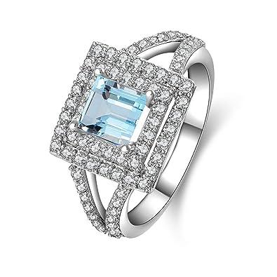 509e447aeef5 Blisfille Joyas Anillo de Compromiso Mujer Anillo de Round Anillo de  Diamante Anillo de Plata de Ley 925