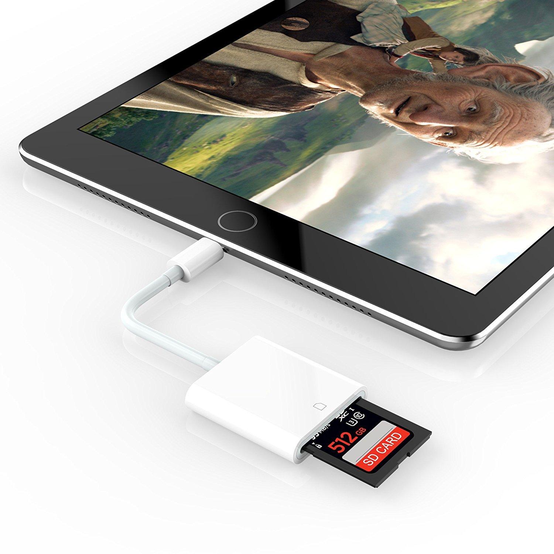 Air 2 iPhone 6s 5 6s Plus 7 Plus Mini 1-3 di PhoneStar iPad Air 7 8 8 Plus Adattatore SD Lettore di schede SD Adatto per iPhone XS XS Max X XR 5s