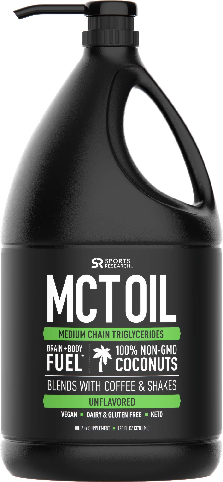 Premium MCT Oil Derived only from Non-GMO Coconuts - 128oz 'XL' Bottle with Pump | Great for Keto Coffee, Tea and Shakes | Vegan Safe, Non-GMO and Gluten Free