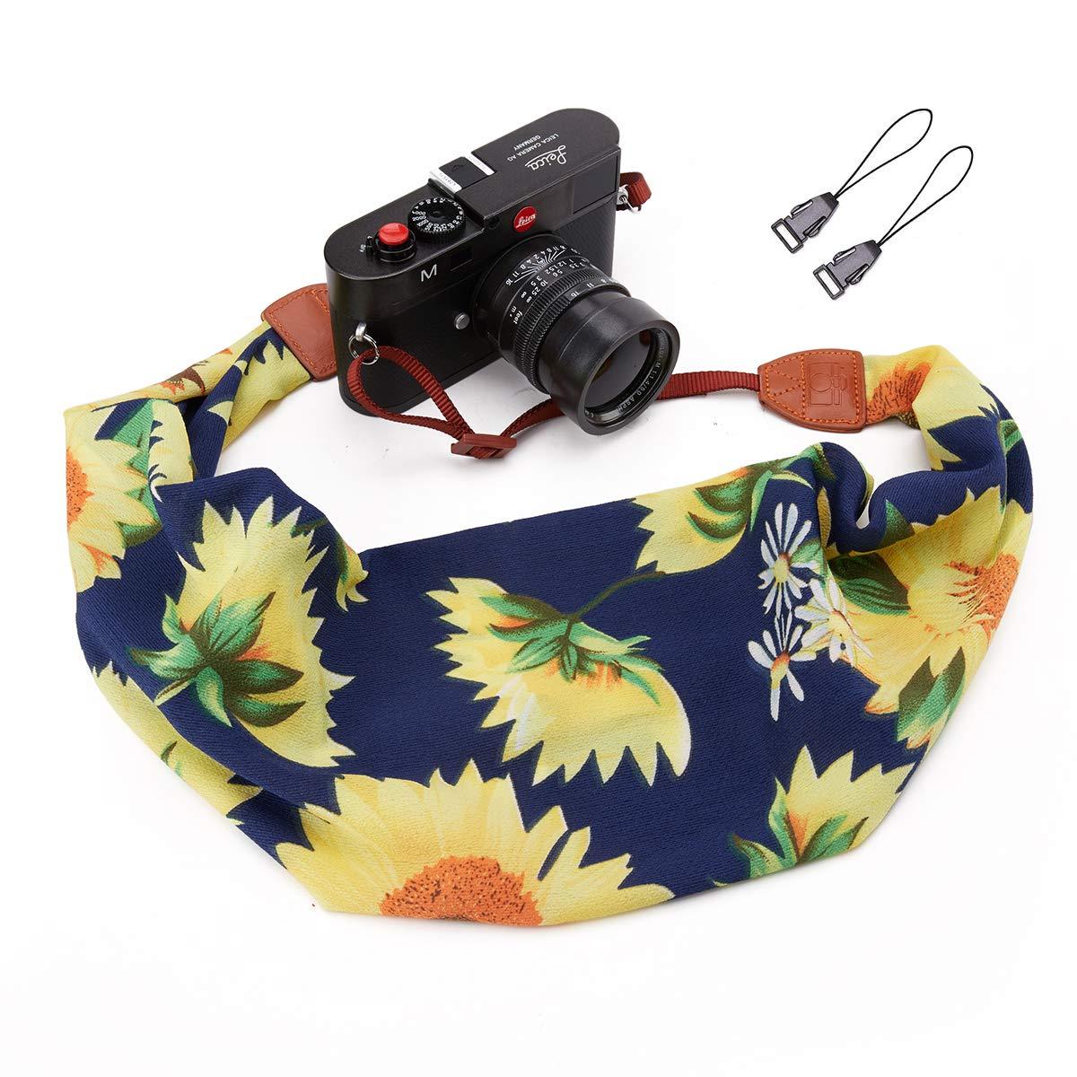 Deanoy カメラストラップ スカーフ ファブリック DSLR ユニバーサル ネックショルダーベルト 女性用  サンフラワー B07MZZYGH1