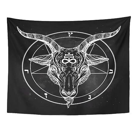 VaryHome Tapiz de pentagrama con báfomet satánico, cabeza de gato ...