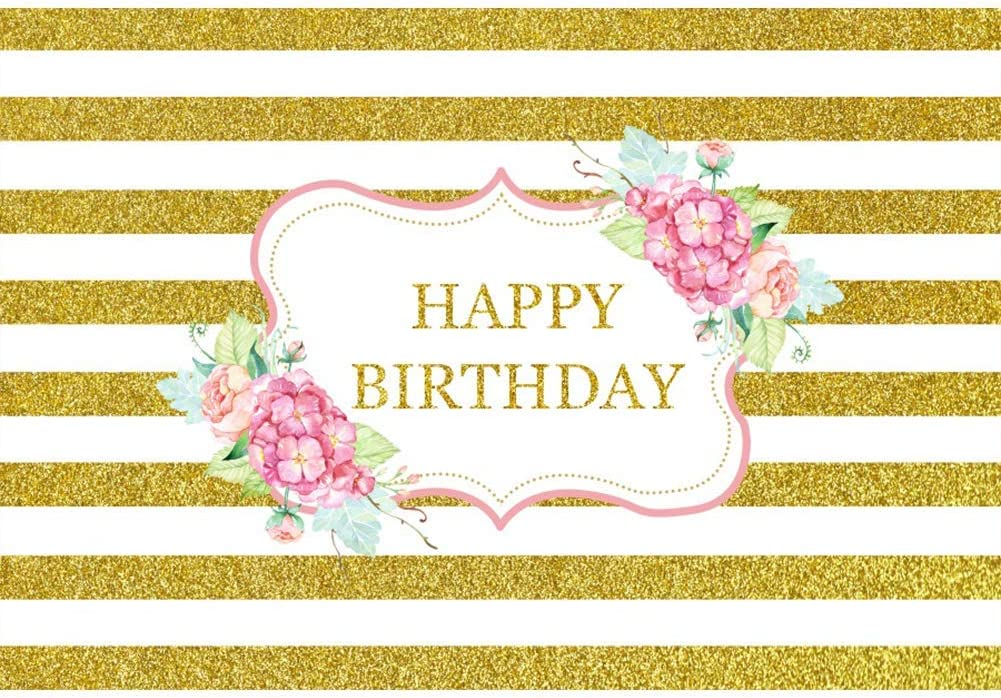 8x6.5ft Happy Birthday Backdrop Golden and White Stripes Polyester Photography Background Water Color Flowers Glitter Children Girl Woman Kids Party Banner Photo Props Studio Decor Wallpaper