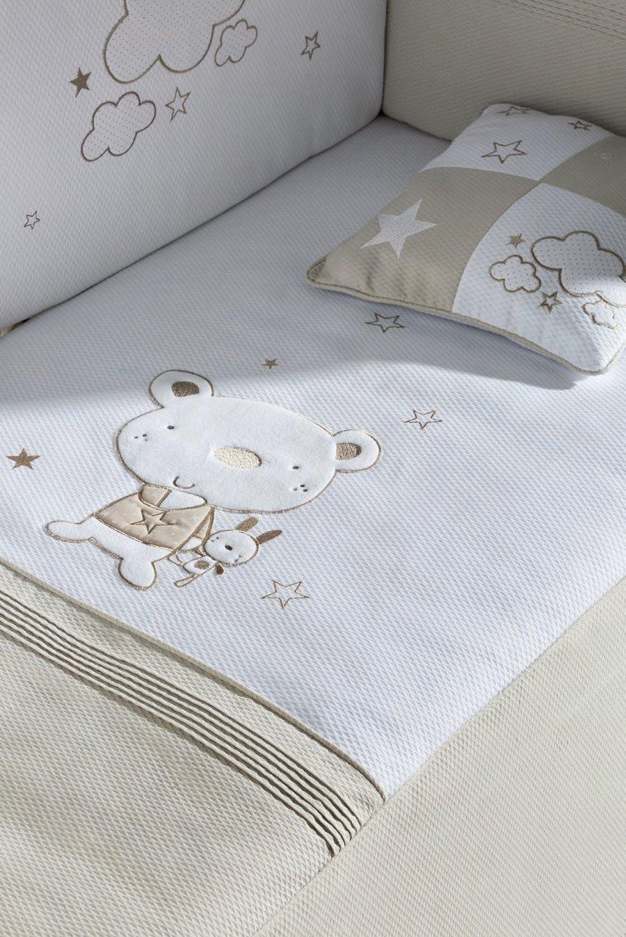 pirulos 21013013–Bettbezug, Displayschutzfolie und Kissen mit Motiv Bär Star, 62x 125cm, Farbe Weiß und Leinen