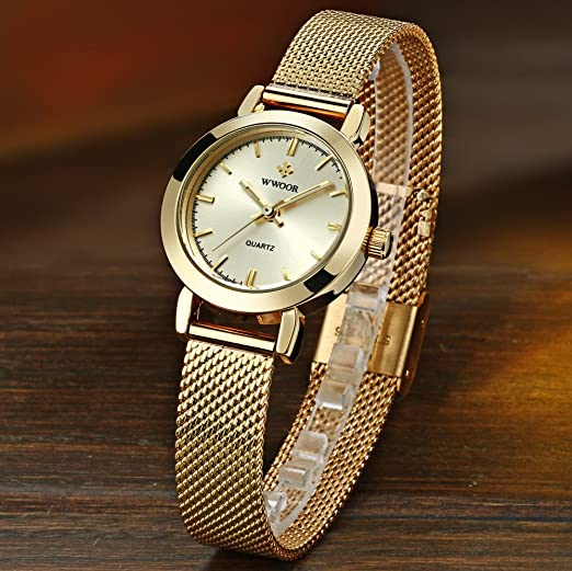 Amazon.com: Reloj De Mujer Fashion Moda Ultra Thin Quartz Watch Mesh Belt Stainless Steel Band RE0067: Watches