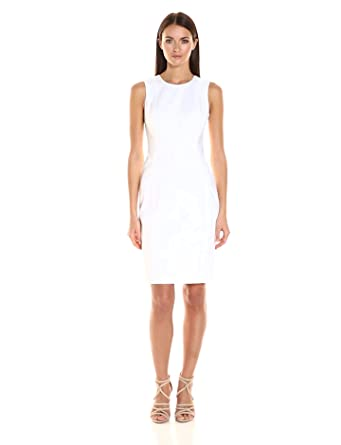Calvin Klein Women's Cotton Blend Sleeveless Princess Seam Sheath Dress, White, 2
