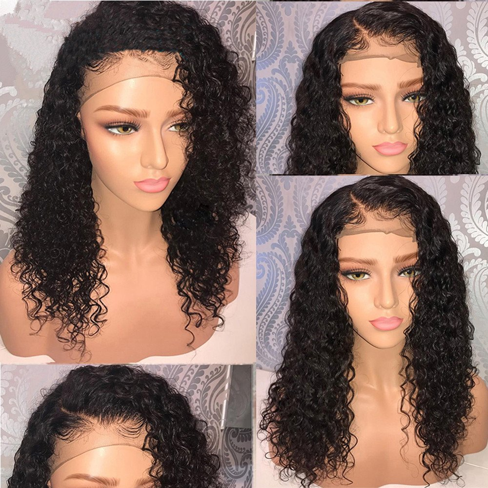 LIAZAHAIR Short Deep Curly Human Hair Lace Front Wigs With Baby Hair Pre-Plucked Natural Hairline Brazilian Remy Bob Wig For Ladies (10 inches) by LIAZAHAIR (Image #2)