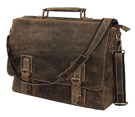 Men s Crazy Horse Leather Shoulder Messenger Briefcase e76b00e297911