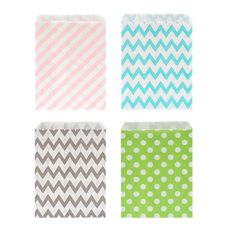 Kesoto 100 Bolsas de Papel para Caramelos Bolsas de Papel para Regalos de 10 Diferentes Colores e Diferentes Patrones, Olas, Punto y Rayas diagonales (Colores aleatorios)