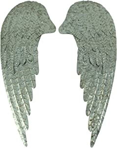 Zeckos Galvanized Metal Rustic Angel Wings Wall Hanging 2 Piece Set