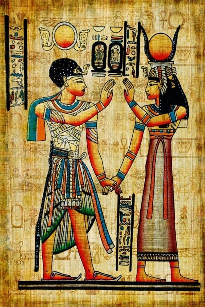 Baocicco 3x5ft Ancient Egyptian Scroll Backdrop Egyptian Mural Photography Background Egypt Pharaohs History Painting Wall Ancient Temple Backdrop Photo Portraits Egypt Party Decor Wallpaper Props
