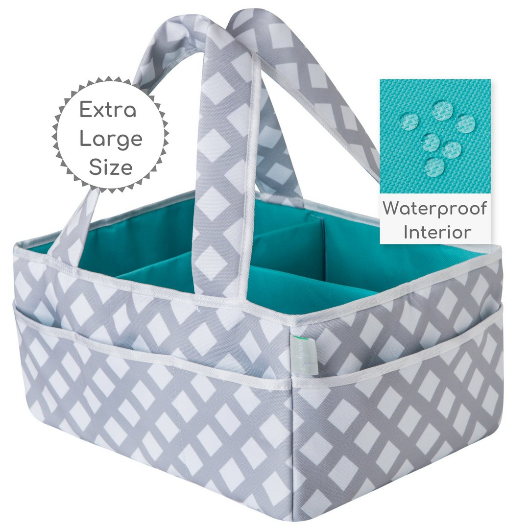Baby Diaper Caddy Organizer Extra Large | Nursery Storage | Changing Table Bin | Portable Basket Car Travel | Wipes Toys Essentials Bag | Premium Cotton | Spill Proof Compartments | Gift Succaritas Co.
