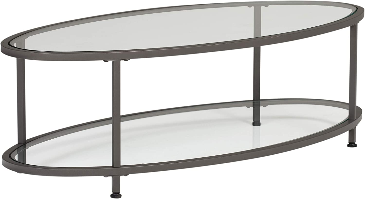 studio designs home camber oval glass coffee table in pewter with clear glass living room coffee table 48