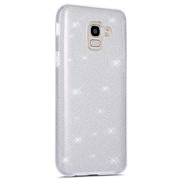 Coovertify Funda Purpurina Brillante Plateada Samsung J6 2018, Carcasa Resistente de Gel Silicona con Brillo Gris Plata para Samsung Galaxy J6 2018 ...