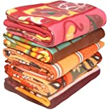 Livingcreation Printed Polar Fleece Double Bed Blanket Pack of 5 (Multi-Color)