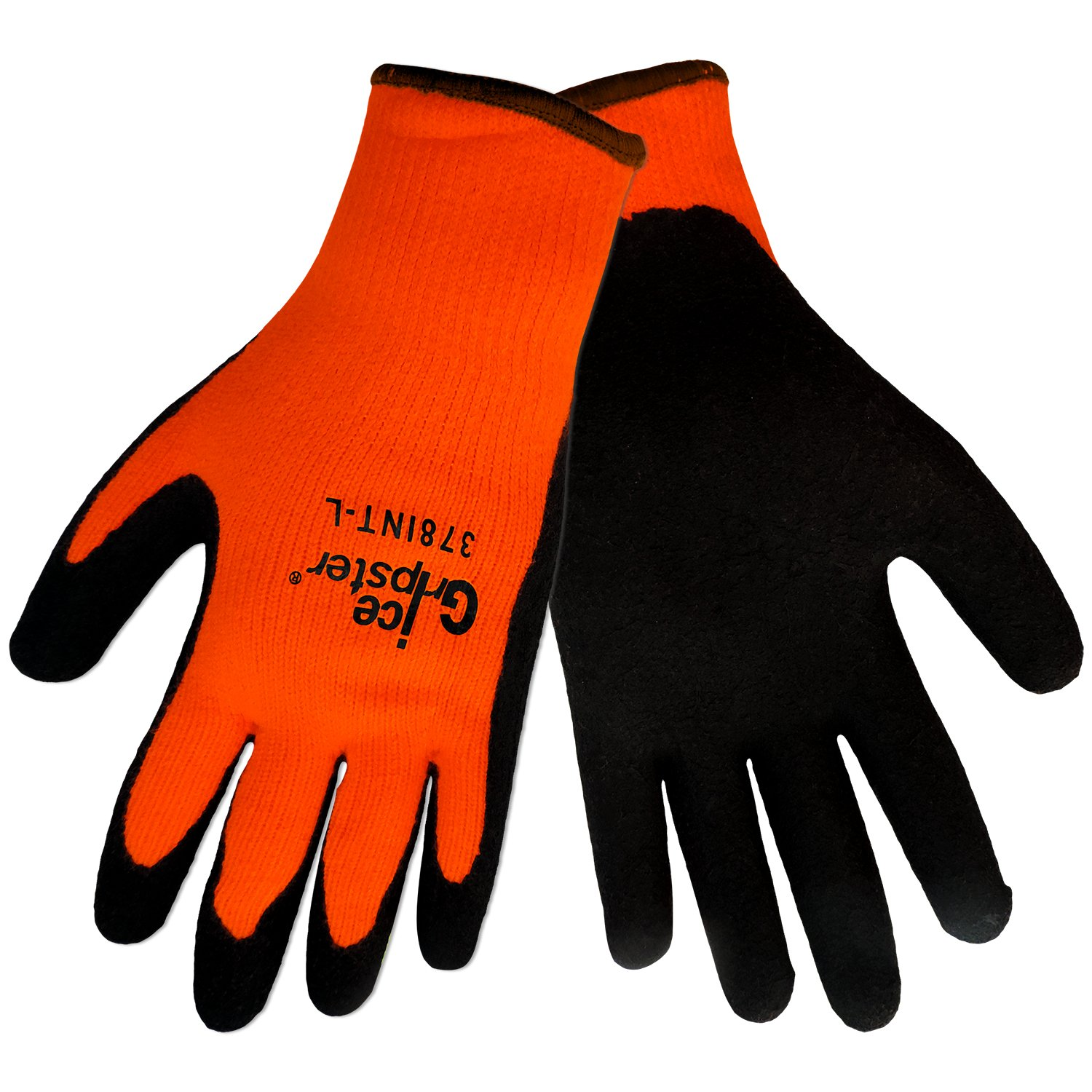 Global Glove 378INT Ice Gripster Foam Rubber Glove, Extra Large, Orange/Black (Case of 72)