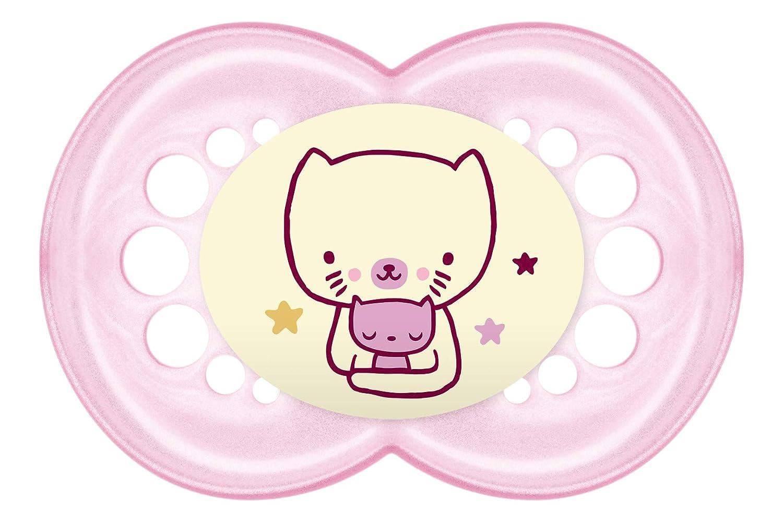 MAM-Juego de chupetes de noche con sterilisable estuche de viaje (6meses Plus), color rosa