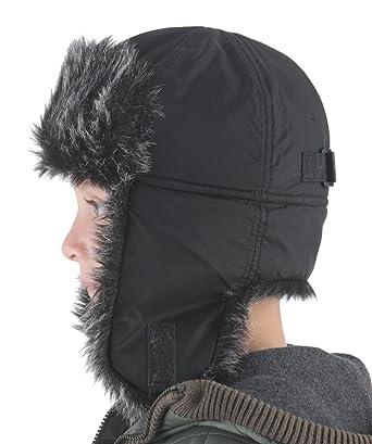 0df26fe7e1b965 RJM Boys Fleece Lined Trapper Hat with Faux Fur Black Grey 9/11 years:  Amazon.co.uk: Clothing
