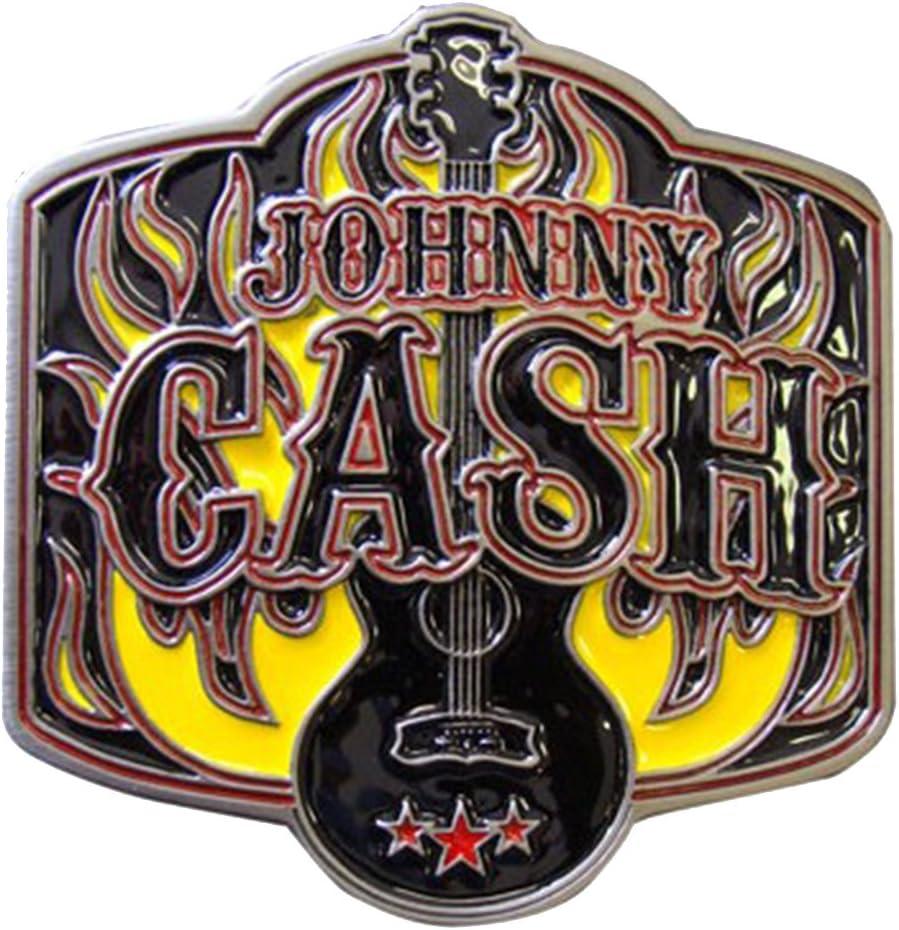 Hebilla de cintur/ón con dise/ño de la guitarra de Johnny Cash en llamas